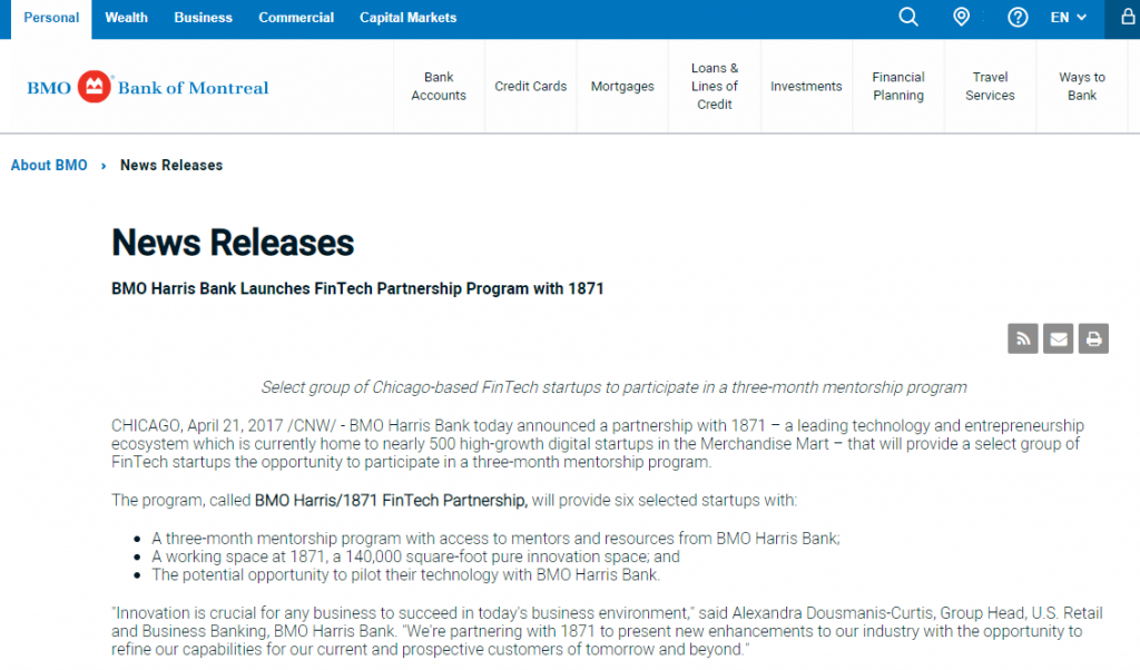 https://newsroom.bmo.com/2017-04-21-BMO-Harris-Bank-Launches-FinTech-Partnership-Program-with-1871